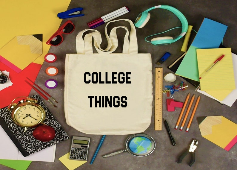 Canvas Tote Bags Large Tote Bag College Things Bag image 0