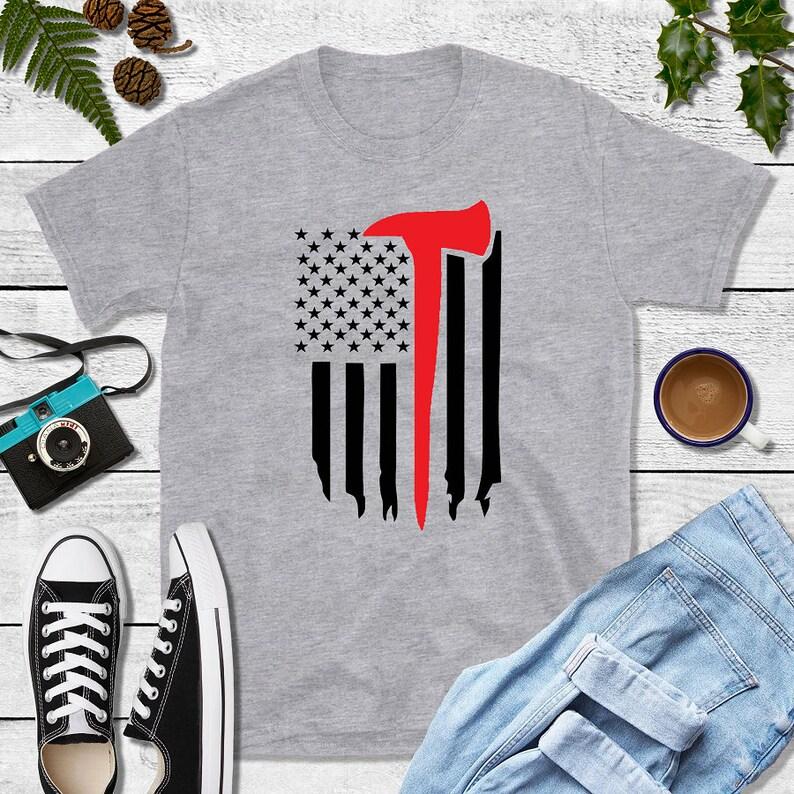 Firefighter Gift Fireman Flag Shirt image 0