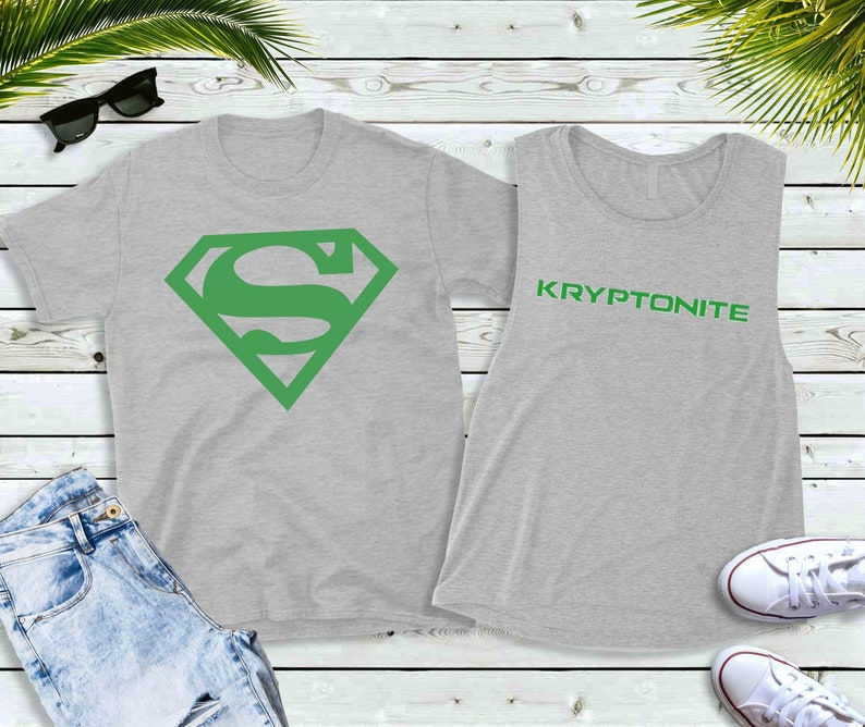 Couples Shirts Superhero and Kryptonite Shirts image 0