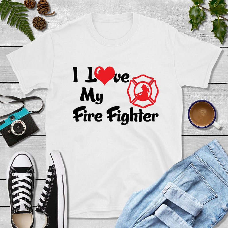 Firefighter Wife I Love My Love Firefighter Shirt image 0