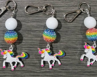 Keychain or bagclasp/clip - with unicorn pendant.