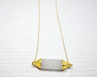 Clear Quartz Pendant with Gold Accent Links Necklace