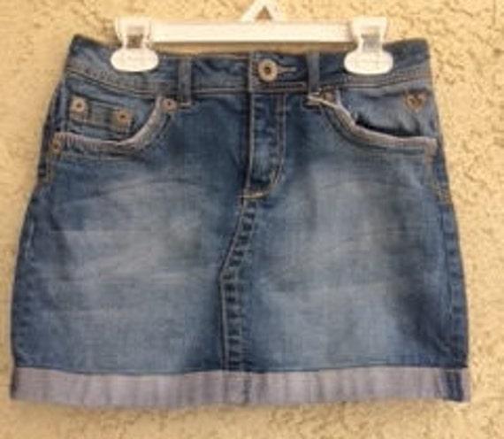 Girls Denim Mini Skirt Size 14s Vintage Denim Skirt Girls Etsy