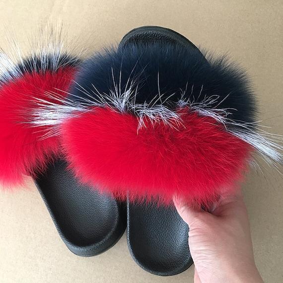 0af948bff61e7 Fox Fur Slides - Multicolor Real Fox Slides, Fur Slippers, Real Fur Slides,  Fox Slides, Fur Sandals, Fur Gift .