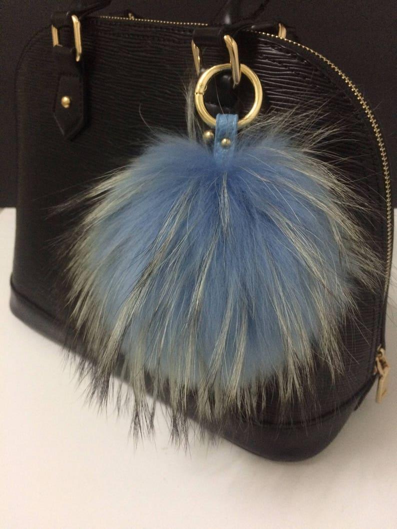 6b79e4d8a41a Large Fur Bag Charm Blue Real Genuine Raccoon Pom pom