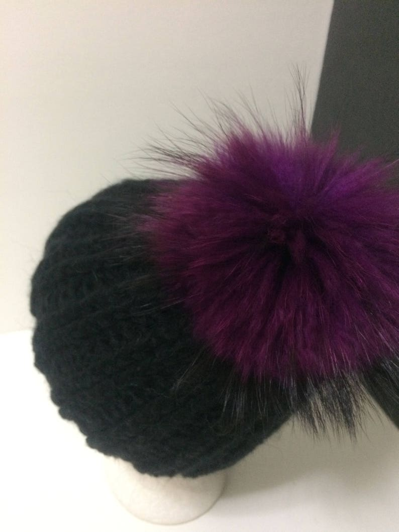 Mohair Removable Large Plum Genuine Raccoon Black Pom pom Hat With Fleece Lining.