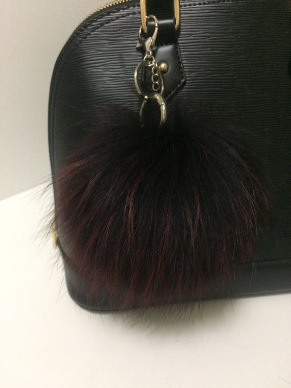 70d89c2271be Fur Bag Charm Black and Burgundy Real Genuine Finn Raccoon