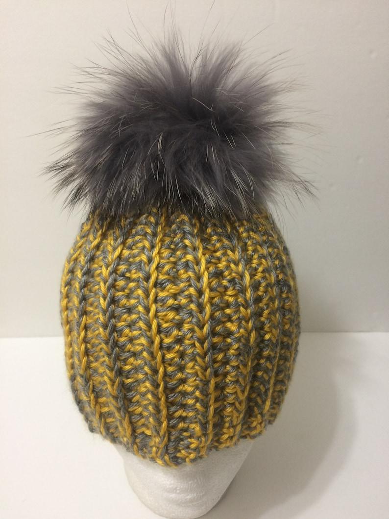 f1b1c551278 Pom pom Beanie Hat Yellow Gray Silver Beanie with