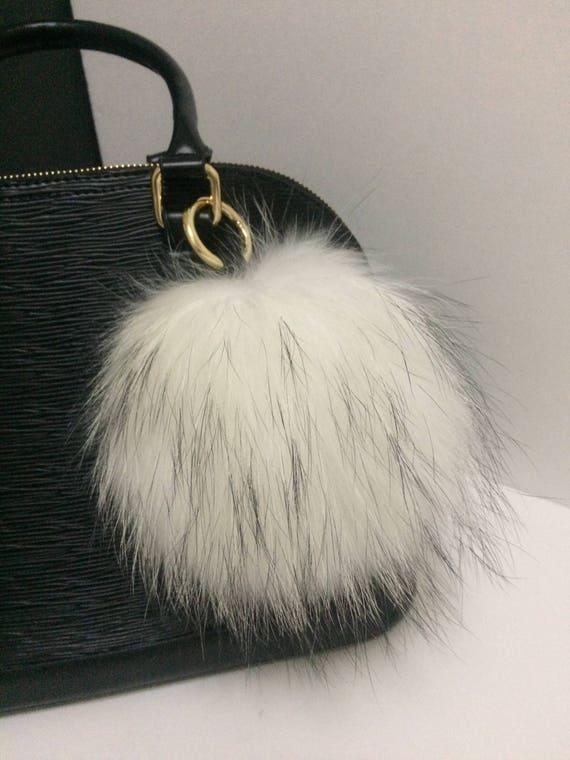 Large Fur Ball Key chain White Real Genuine Raccoon Fur Pom  d2763a23c103c