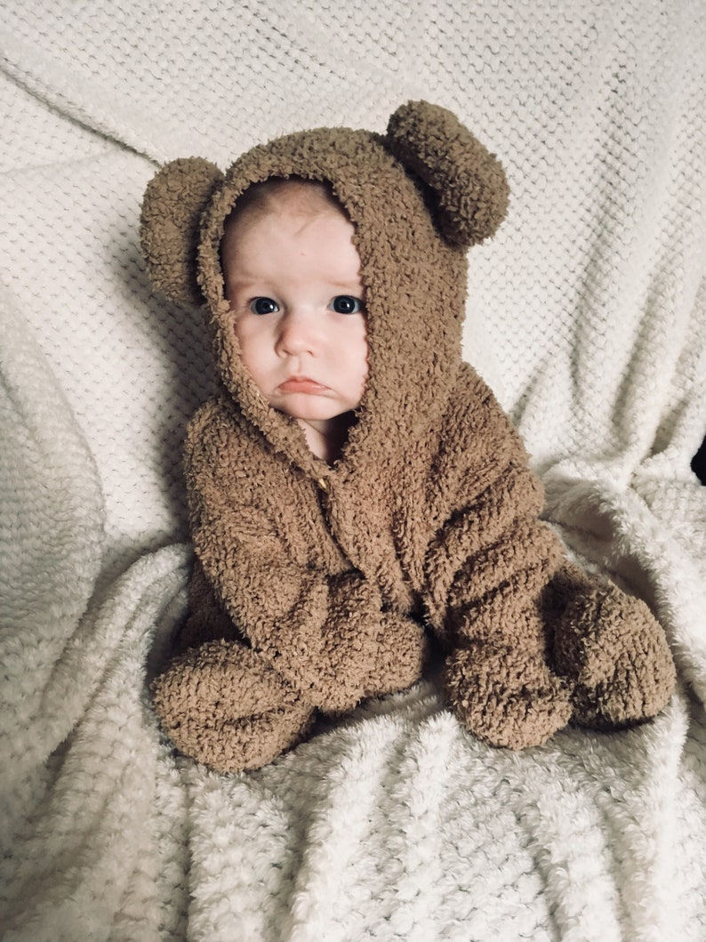 3c3adee81 PRE ORDER ONLY Hand Knitted Fluffy Bear Onesie 0-6 Months | Etsy