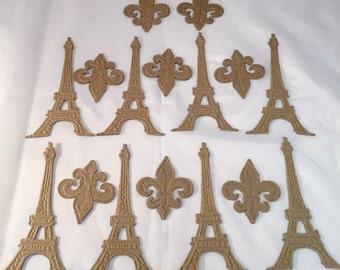 Tim Holtz Die Cuts * Eiffel Tower * Fleur de Lis * Embossed Chipboard * Sizzix 658556 * France