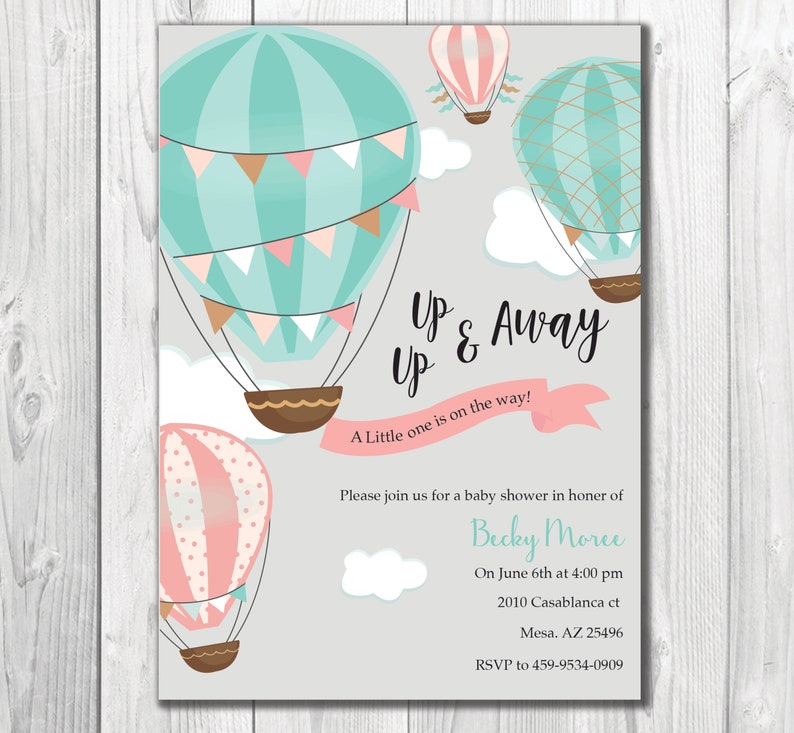 Hot Air Balloon Theme Baby Shower Invite Baby Shower Etsy