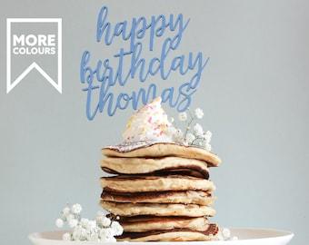 Happy Birthday Cake Topper, Personalised Cake Topper, Name Cake Topper, Wooden Cake Topper, Birthday Decoration, Custom Cake Topper