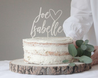 Wedding Cake Topper With Heart And First Names, Heart Topper, Love Heart Wedding Topper, Wooden Cake Topper, Gold Wedding Cake Topper, Gift