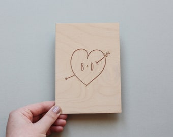 Wooden Love Card, Personalised Love Card, Wood Anniversary Card, 5th Anniversary Card - Personalised Engraved Love Heart Card