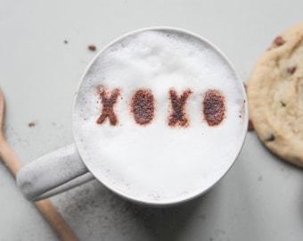 Coffee Lover Gift, Valentine's Day Gift, Secret Santa, Coffee Stencil, Anniversary Gift, Gift For Him, Gift for Boyfriend, Custom Coffee