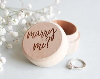 Wooden Proposal Ring Box, Engagement Ring Box, Marry Me Ring Box, Wooden Ring Box, Wood Ring Bearer Box, Rustic Ring Box, Unique Ring Box
