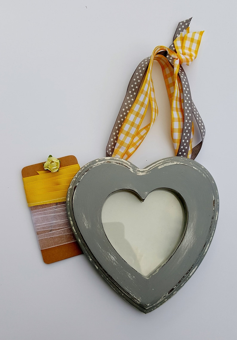 by BOHOSEASON HEART SHAPED Hanging Photo Frame Grey with Yellow Ribbons Vintage Frame Recycled Handpainted Boho Home Decor -