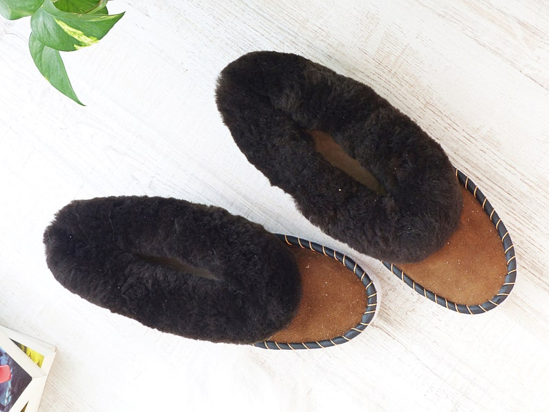 eaa5ef81cdb64 Genuine Leather Slipper | Real Sheepskin Mens Slippers | Furry Home  Slippers | Fur Leather Mens Slippers |Gift For Him Sheepskin Wool Boots