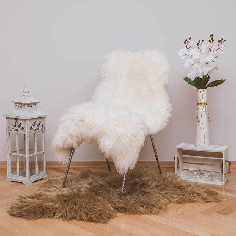 Beautiful White Real SHEEPSKIN rug  Natural Humanely Sourced image 0
