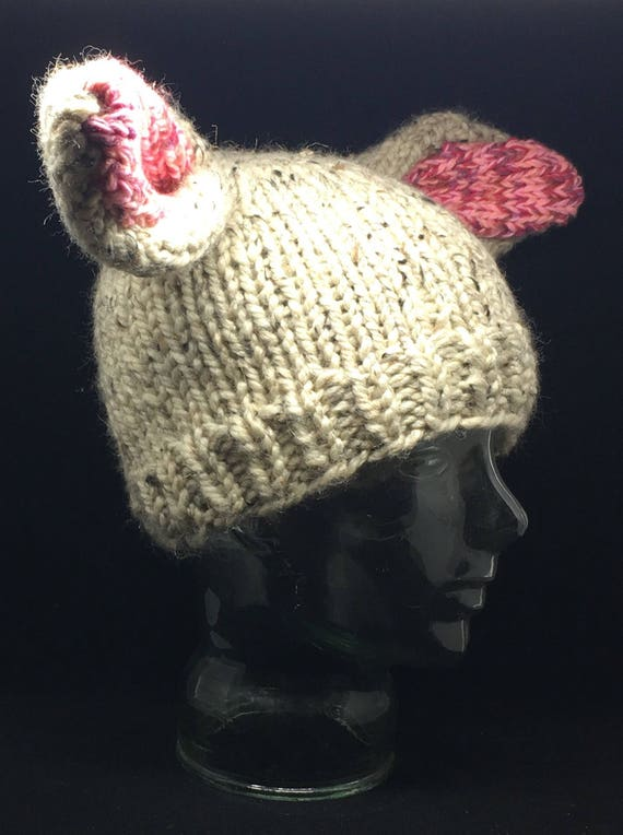 Bunny ears! Chunky knit winter hat ADULT sized