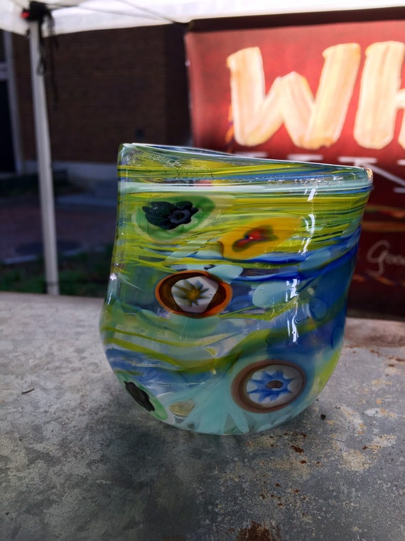 Hand blown whiskey glass tumbler