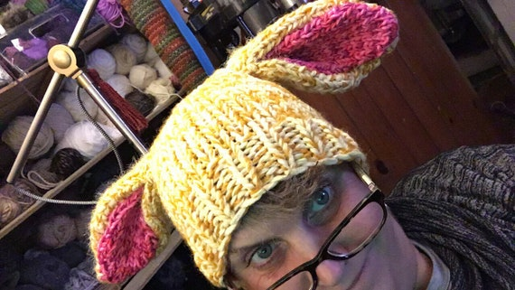 Bunny ears! Chunky knit winter hat older kid/ADULT sized. Fits most