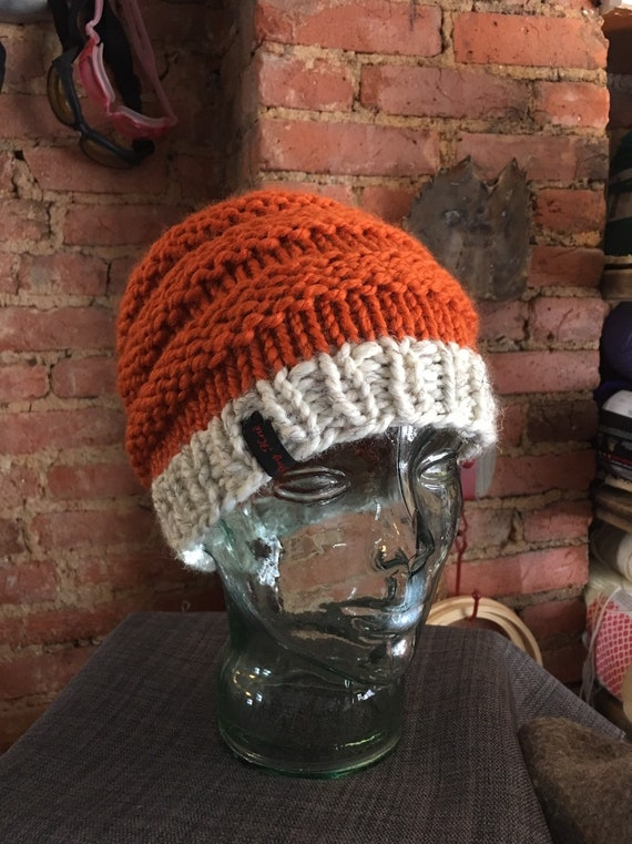 Pontail messy bun handknitted hat beanie Fox inspired toque cream orange black