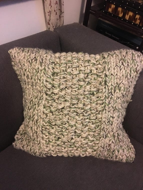 Handknit, Chunky oatmeal heather pillow. Removable cover for easy washing.