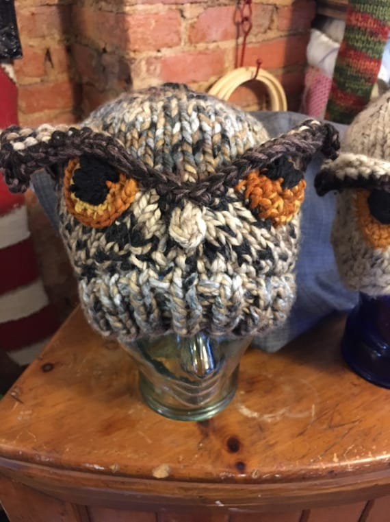 Hand knitted owl hat for kids and most adults!