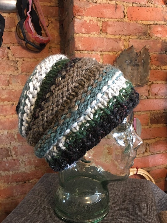 Pontail messy bun handknitted hat beanie toque green black grey