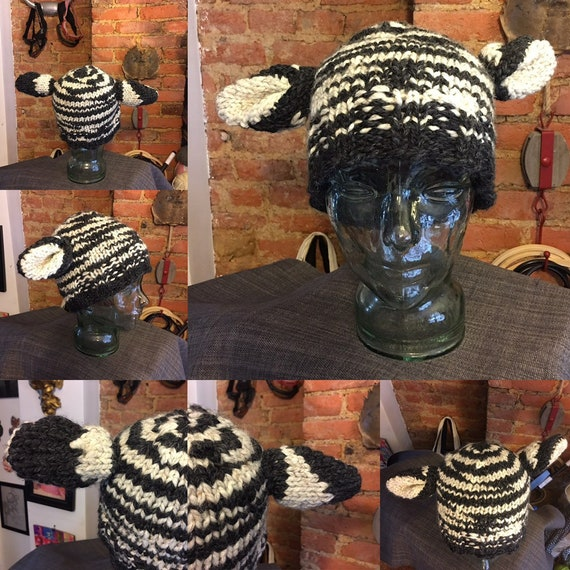 Handmade knit zebra hat beanie skull cap black and white