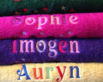 Personalised Embroidered swim, sports, bath towel kids children gift