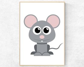 Mouse Print, Mouse Wall Art, Kids Room Wall Art Prints, Nursery Decor, Nursery Wall Art, Animal Printable Wall Art, Digital Poster Download