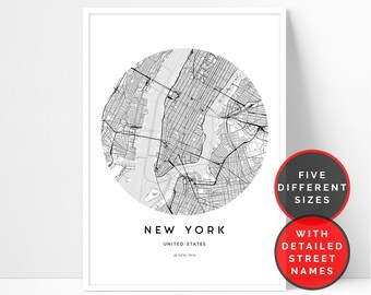 New York Map Print City Printable Wall Art Of Travel Poster Street
