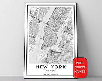 New York Map Print Manhattan Wall Art Street Poster Black And White City Digital