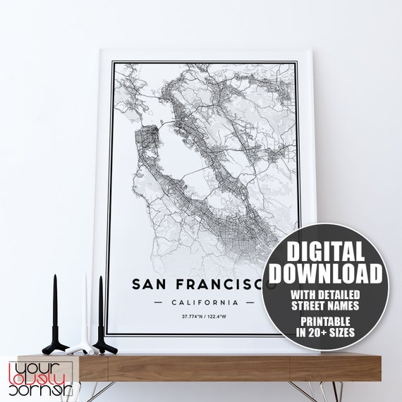 San Francisco Bay Area Map Print Printable Map Of San Etsy High resolution printable map of south bay area, california, united states. etsy