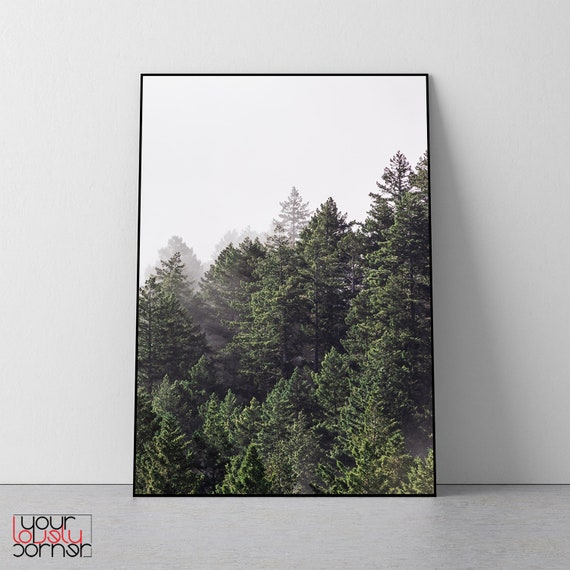 treeline Watercolor Art Print evening north woods forest nature Silver Pines pine trees