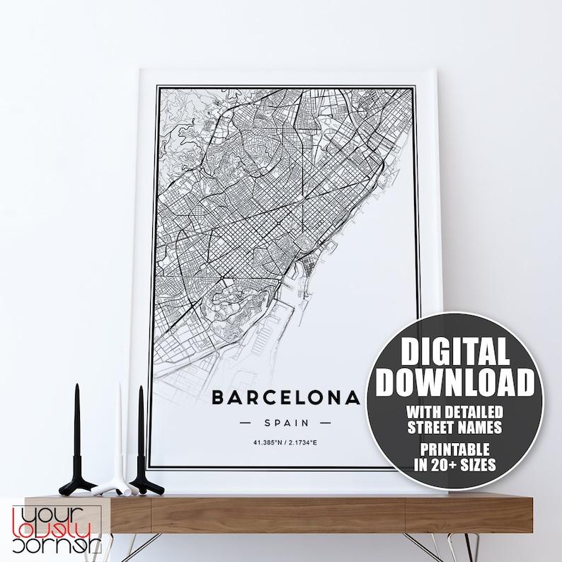 photo regarding Printable Map of Barcelona titled Barcelona Map Printable Wall Artwork, Map Of Barcelona Wall Artwork Prints, Barcelona Town Map, Barcelona Print, Barcelona Poster Downloadable Print
