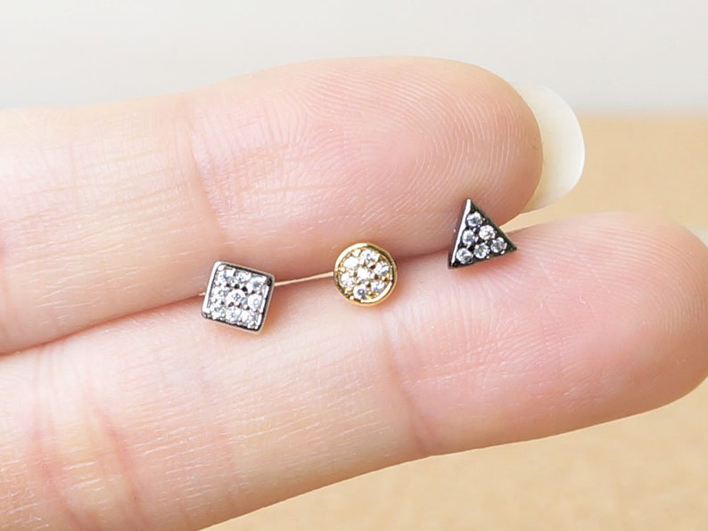 4eea1b3d263c4 Circle,Triangle,Square,Rectangle,Tragus,Stud Barbell Piercing,Surgical  Steel,Screw Back,Cz,Cubic,316L,16G,Body Jewelry,Earring,Jewelry,AR5