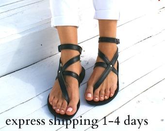 ANTIGONE 2 sandals/ Greek leather sandals/ ankle cuff sandals/ ancient grecian sandals/ handmade thong sandals/ Greek flats/ black sandals