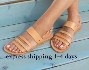 Sandales ARMONIA / grec sandales en cuir / sandales gladiateur / antique grecques sandales / main sandales / lanières sandales / naturel beiges sandales
