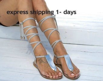 IRINI 5 leather gladiator sandals/ ancient Greek sandals/ lace up sandals/ spartan sandals/ handmade silver sandal/ T-strap sandal