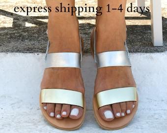 CELESTE sandals/ Greek leather sandals/  summer sandals/ ancient grecian sandals/ strappy sandals/ slingback sandals/ silver-gold sandals