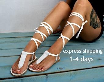 IRINI 4 leather gladiator sandals/ ancient Greek sandals/ lace up sandals/ spartan sandals/ handmade white leather sandal/ T-strap sandal