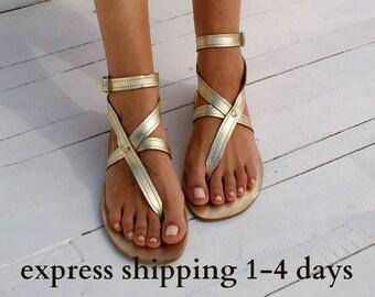 Sandales ANTIGONE 4 / grec sandales en cuir / cheville cuff sandals / antique grecques sandales / fait à la main sandales thong / grec appartements / or sandales