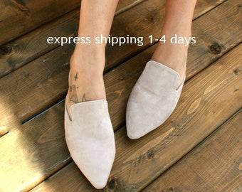 e6e8042a2c47e COCO 2 handmade women leather sandals/ Greek suede sandals/ Nude beige  slides/ Women suede flats/ Nude suede slippers/ Nude suede mules