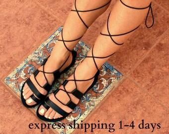 Sandales gladiateur en cuir HECTOR 2 / antique grecs sandales / dentelle haut sandales / Spartiates sandale / main sandale en cuir noir / lanières sandales