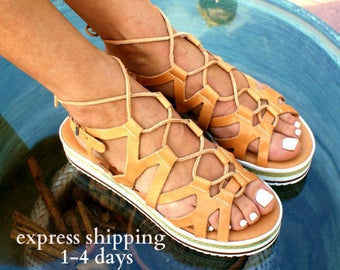SPARTACUS leather gladiator sandals/ ancient Greek sandals/ grecian sandals/ spartan sandal/ handmade natural leather sandal/ strappy sandal