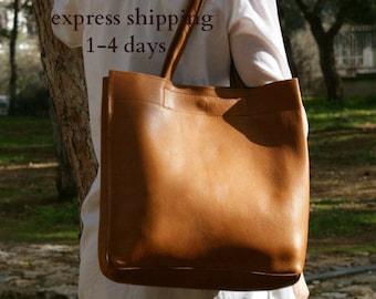 leather tote bag/ womens  handbag/ shoppers bag/ shoulder bag/ genuine leather brown tote/ ladies tote/ womens tote/ code 120 cognac colour